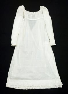 1795, Cotton. In Nancy Bradfield's Costume in Detail (pp. 91-92), this gown is dated 1806-09. Certainly does not look 1795.