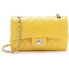 What Goes Around Comes Around Chanel 9'' 2.55 Shoulder Bag - Yellow featuring polyvore, fashion, bags, handbags, shoulder bags, yellow purse, yellow shoulder bag, vintage handbags, vintage leather purse and chain strap purse