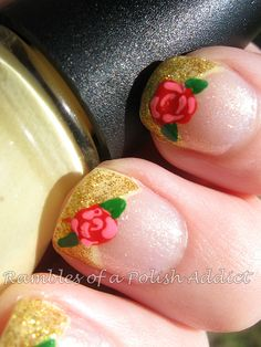 Disney nail art challenge day 15: Princess Belle