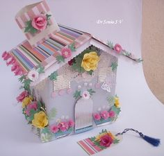 Cards ,Crafts ,Kids Projects: House Shaped Box with Punchcraft and Quilling- Recycled Craft TUTORIAL