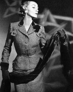 Suit fashion for Vogue US, 1951.