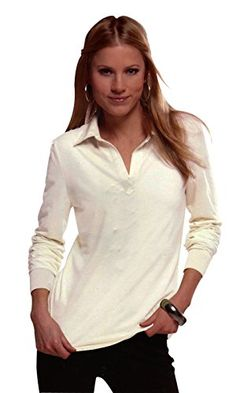 Han Solo LG $13.99 Free ship Ladies Viscose Lycra Long Sleeve Polo Shirt With Satin Collar (Cream, Large) Maks