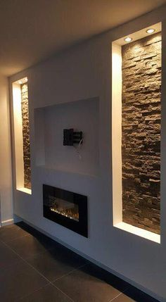 #homeimprovementprojects Tv Fireplace, Feature Walls, Bathroom Lighting, Salons, Lounges
