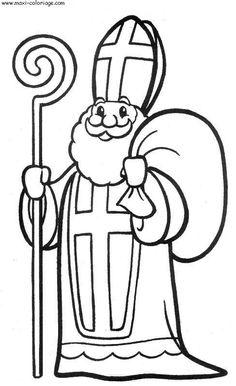 8 Simpliste Saint Nicolas Coloriage Stock Dessin A Colorier Et A Imprimer Saint Nicolas Coloring Pages Winter, Christmas Coloring Pages, Coloring Books, Christmas Colors, Christmas Crafts, Christmas Lights, St Nicholas Day, Saint Gregory, Santa Pictures