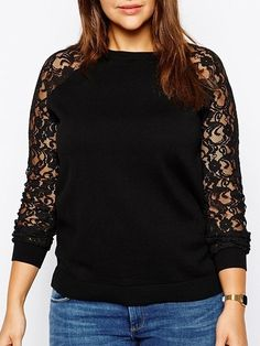 Comfortable Loose Fitting Lace Patchwork Plain Plus Size T-shirt Plus Size Tops from fashionmia.com