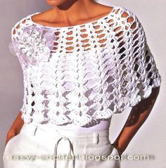 Stylish Easy Crochet: Crochet Poncho - Gorgeous White Ponchos - chart only Crochet Bolero, Gilet Crochet, Crochet Jacket, Thread Crochet, Crochet Scarves, Diy Crochet, Crochet Clothes, White Poncho, Crochet Fashion