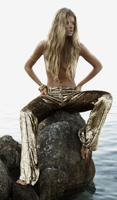 gold pants- Doutzen Kroes: Castaway - Vogue UK by Josh Olins, January 2013