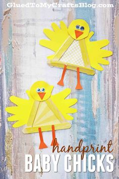Handprint Popsicle Stick Baby Chick - Kid Craft