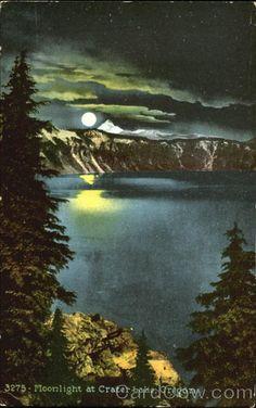 Moonlight at Crater Lake in Oregon