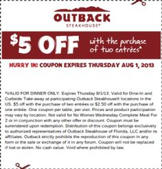outback steakhouse coupons menu