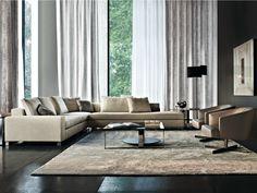 Sofá tapizado de cuero Sofá de esquina Serie Williams by Minotti