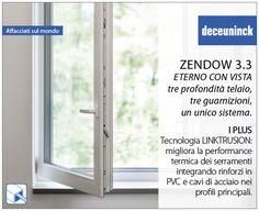 Deceuninck, attraverso la sua nuova tecnologia LINKTRUSION, integra nei profili principali, al posto dei tradizionali rinforzi in metallo, rinforzi termici, costituiti da una sagoma in PVC rigido, un cuore di PVC espanso e cavi d'acciaio coestrusi che migliorano esponenzialmente la performance termica dei serramenti. Le finestre prodotte con questa tecnologia sono al 100% riciclabili.