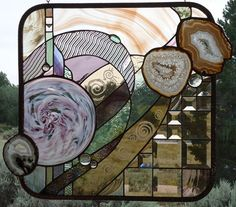 """Stained Glass Window Panel """" ORGANIC HARMONY hand blown plate, Brazilian agates,peach beveling, sand carving, hand poured glass, original"""