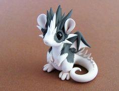 Grey and White Blazed Rat-dragon by eBay seller dragonsandbeasties.