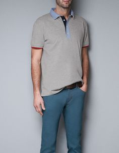 POLO SHIRT WITH POPLIN COLLAR - T-shirts - Man - ZARA