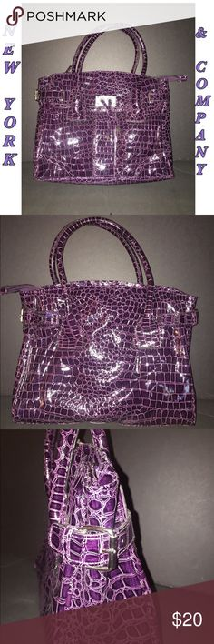 NEW YORK & COMPANY handbag Purple New York Company  Faux Patent Croc Embossed handbag.  Super cute & classy. A guaranteed fav !! In EXCELLENT condition .. JUST like NEW .. used once !!!  Approx size : 14 L x 11 H x 5W New York & Company Bags Totes