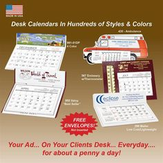 Desktop Calendars imprinted with your information in color!