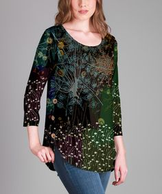 Look what I found on #zulily! Green & Purple Floral Scoop Neck Tunic - Plus #zulilyfinds