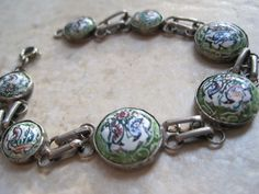 Vintage Persian Bracelet Silver and Hand Painted Green Enamel Cabochons - 1930s