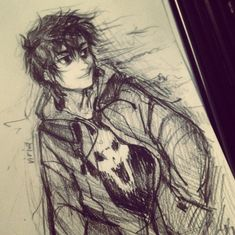 Nico..... awwww! he is smiling!!!!! (this is like the first fan art I like of Nico that he is SMILING in!)