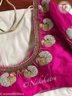 Guttapusala Jeweled Blouse Design Jeweled Blouse designs for Sarees Jeweled Blouses are trendy nowadays with a lot of creativity hitting this year. I have already posted different var… Peacock Blouse Designs, Cutwork Blouse Designs, Kids Blouse Designs, Hand Work Blouse Design, Simple Blouse Designs, Stylish Blouse Design, Blouse Neck Designs, Aari Work Blouse, Maggam Work Designs