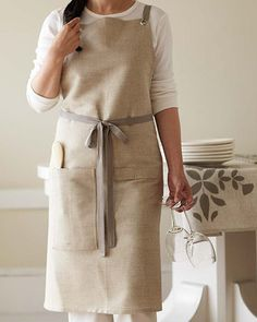 Kitchen Apron  Oatmeal by STUDIOPATRO on Etsy, $68.00. nice design, estremely xpensive, mine are much cheaper!!!