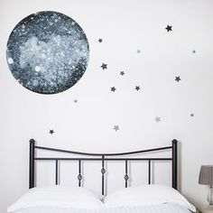 Watercolour Moon And Stars Wall Sticker - wall stickers