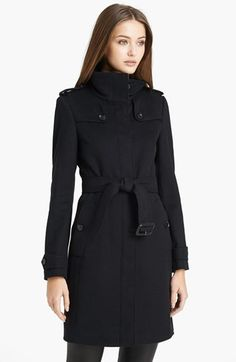 Black Burberry 'Basingstoke' Wool and Cashmere Coat