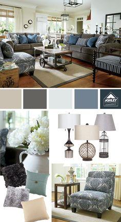Smooth blues! (Navasota Sofa - Ashley Furniture HomeStore)