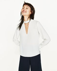 Image 2 of V-NECK BLOUSE from Zara