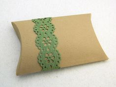 Gift Wrap Pillow Box  Package of 3  Green Moss Green by sobresitos