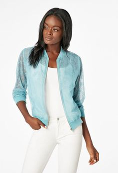90c24cf7e5 Organza Lace Bomber Jacket in Delphinium Blue - Get great deals at JustFab  Delphinium