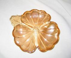 vintage antique Marigold Amber Carnival Glass Clover Shaped divided candy dish
