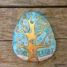 Another Klimt inspired stone by Karen Fuhr!