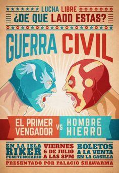 Cartel de lucha libre con personajes de cómics. Iron man vs Capitan america
