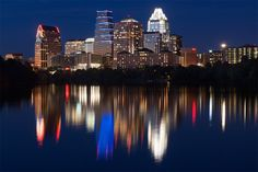 The beautiful Austin skyline at night, by photographer Erik Pronske.