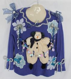 Deb-Rottums-Tacky-Ugly-Christmas-Sweater-Womens-Size-2X-3X-Snowman
