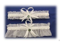 Sheer White Wedding Garter Set with Four Leaf Clover by StarBridal