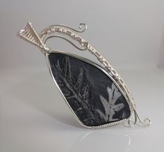 SOLD - Fern Plant Fossil Cabochon Wire Wrapped Pendant