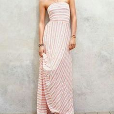 VS Maxi The most comfortable dress ever! Can be worn as a skirt or a dress and the top folds down as well so you can choose how high or low you want it. Stripes are a pink/sherbert unique color! Victoria's Secret Dresses Maxi