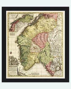 Old Map of Norway Norwegian 1770 Vintage Map by OldCityPrints, $28.00