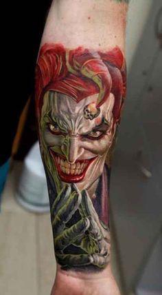 Amazing Colourfull evil clown tattoo