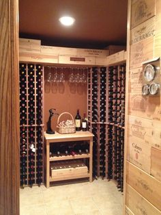 A custom mahogany wine cellar in a spare room in a house. You can find more at WineRacks.com