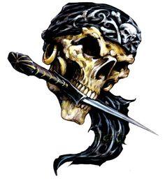 Pirate Skull | Pirate Skull Decal Sticker, Skull and Crossbones decals, skull ... Pirate Skull, Halloween Images, Airbrush Art, Skull And Crossbones, Sea And Ocean, Skull And Bones, Pirates, Lion Sculpture, Statue