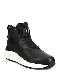 ARTICLE NUMBER Leather Lace-Up Sneakers - Black/Whit - Size