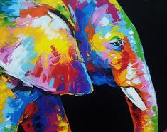 Colorful elephant painting acrylic on canvas wall decor by artist Sumaree Nunsang from Thailand. The painting not ready to hang, It is no frame. This is hand painted not a print. The paintings were copy from one piece to another, not an original one. Canvas size: 48 x 98 cm (width 98 cm,