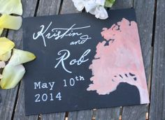 Free gift for May 10th couple in honor of my wedding anniversary. Watercolor oak on chalk with wedding date.