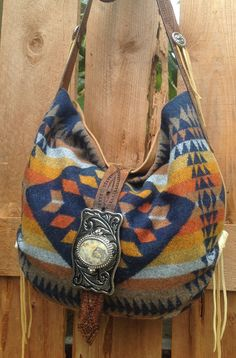 Pendleton Wool & Carmel Leather Western  Bag by DoubleJOriginals, $200.00   SOLD to Paige