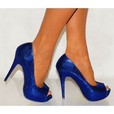 Womens Sparkly glitter high mid & low pumps peep toe heels shoes Royal Sapphire Cobalt blue Wedding bride sweet 16 birthday girl prom by CrystalCleatss on Etsy