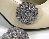 Shoe Clips Clear Faceted AB Rhinestones Round Jewelry for your Shoes Shoeclips
